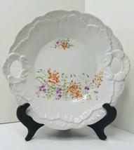VINTAGE Scalloped BON BON Plate Purple & Orange Flowers Two Handles Serv... - $13.95