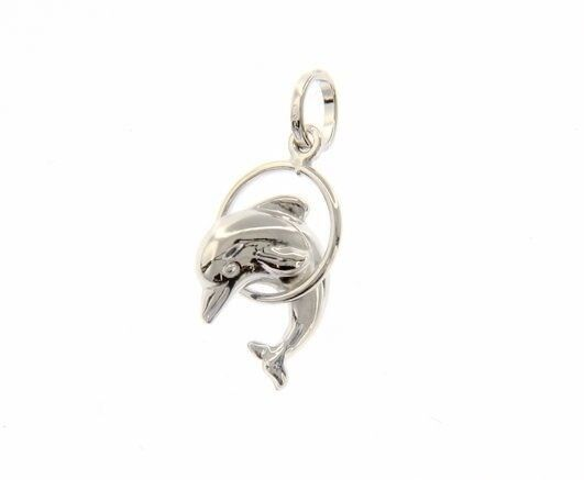 18K WHITE GOLD DOLPHIN JUMPS IN CIRCLE PENDANT CHARM 24 MM SMOOTH MADE IN ITALY