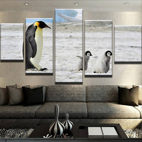 Framed 5 Piece Penguins Canvas Print Painting Wall Art Picture Home Decor Animals Canvas