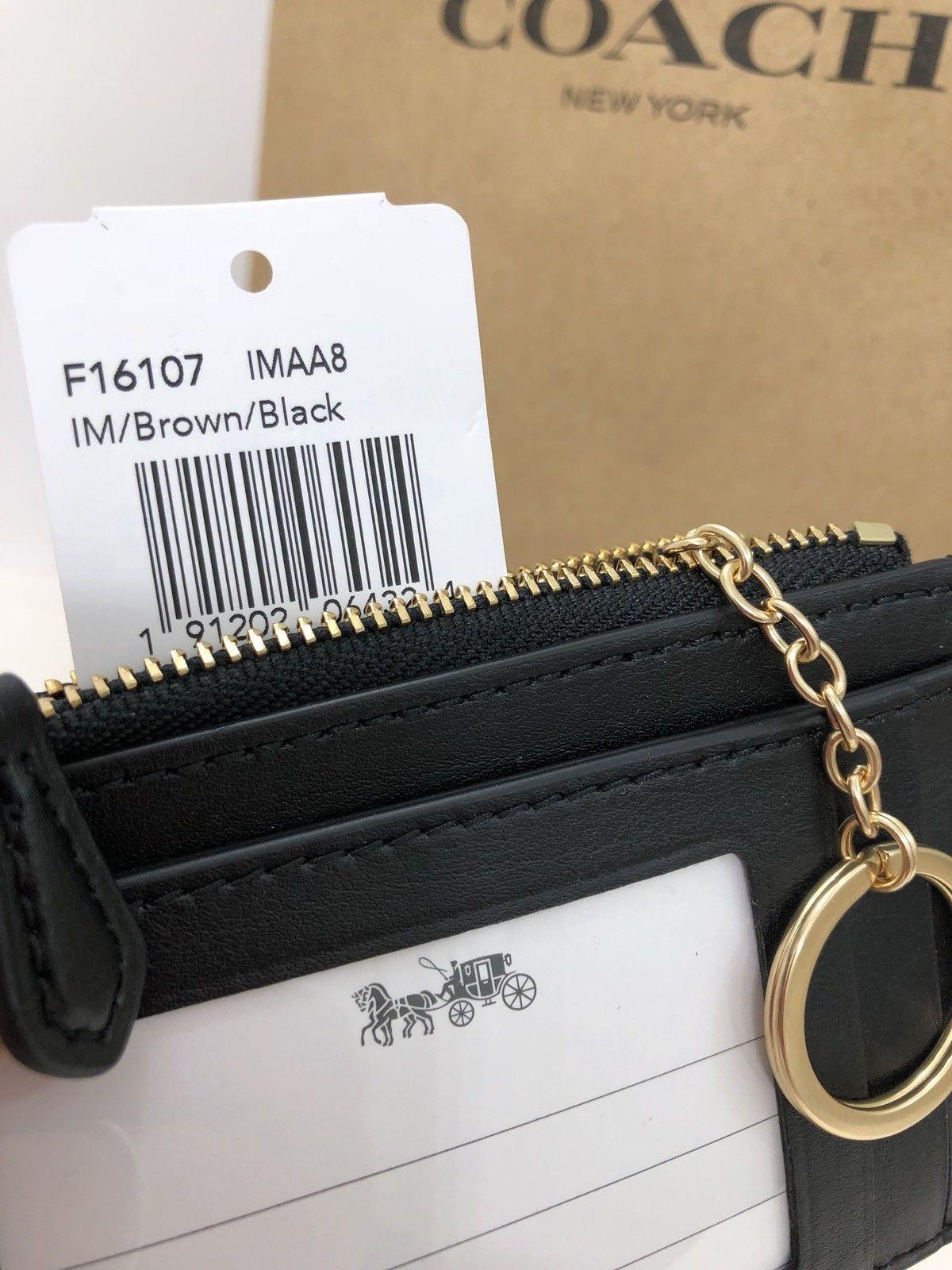 ... NWT Coach F16107 Mini ID Skinny Key Chain Case PVC Signature Brown Black   65 c263a0b3e0ef4