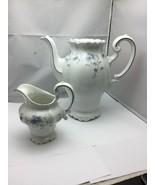 Johann Haviland BLUE GARLAND Coffee Tea Pot and Creamer, Bavaria Germany - $59.40