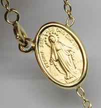 "18K YELLOW GOLD 27.5"" BIG ROSARY 6mm MIRACULOUS MEDAL SAINT BENEDICT JESUS CROSS image 5"