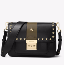 Michael Kors Sloan Editor Leather Shoulder Bag with Stars Black and Olive - $549.00