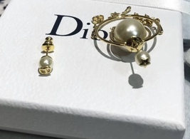 """Authentic Christian Dior """"DIOR TRIBALES"""" Earrings Gold Crystal Star Wasp Charms  image 8"""