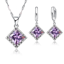 Top Quality Women Amethyst 925 Sterling Silver Pendant Necklace Earrings  - $11.99
