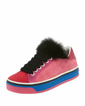 Marc Jacobs Love Empire Fur/Suede Low-Top Sneakers Size 38 MSRP $250.00 - $178.20