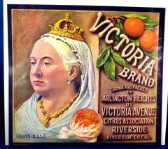 Vintage Fruit Crate Label Original Queen Victoria Sunkist Oranges 1940s Advertis - $18.00