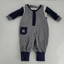 Vintage 90s Gymboree Layette Baby Boy Navy Blue White Star Romper Overalls 0-3 - $39.58