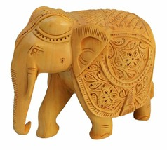 Real Wooden Elephant Statue 5 Inch Height Hand Carved Collectible Figuri... - $46.31