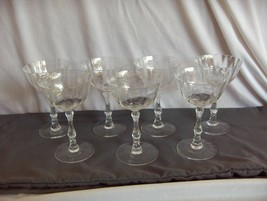 7 Vintage Clear Lenox Navarre Tall Champagne Sherbet Goblets Fine Crystal NICE - $232.65