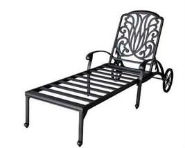 Outdoor Chaise Lounge Elisabeth Cast Aluminum All Weather Patio furniture Bronze image 1