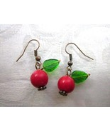 Handmade Red Coral and Green Leaf Cherry Berry Copper Tone Earrings, Fre... - $5.70