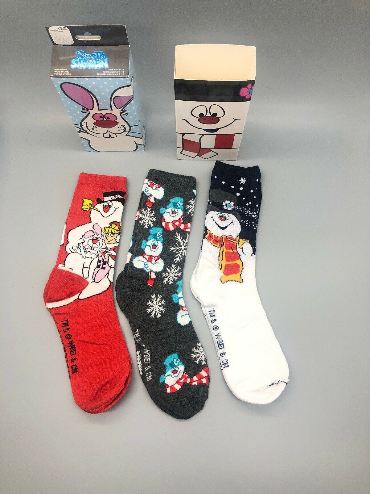 FROSTY THE SNOWMAN CHRISTMAS 3 Pack Crew Socks Size 6-12