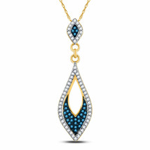 10kt Yellow Gold Womens Round Blue Color Enhanced Diamond Oval Pendant 1... - $255.82