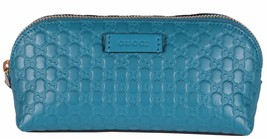 New Gucci 449894 Cobalt Blue Leather Micro GG Guccissima Cosmetic Bag - $239.00