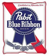 Silver Buffalo Pabst Blue Ribbon Logo Raschel Fleece Throw Blanket