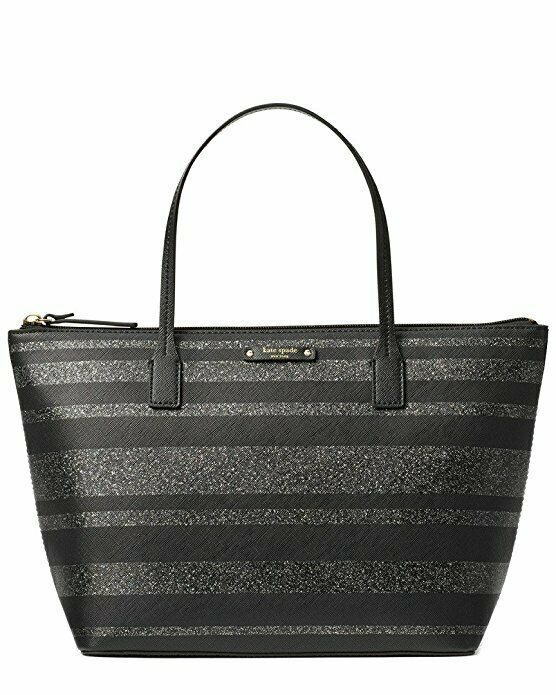 Kate Spade Hani Haven Lane Black Glitter Strap Tote Bag WKRU4787