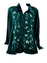 Koret 1X Button Front Long Sleeve Button Shirt Embroidered Design Velour... - $50.00