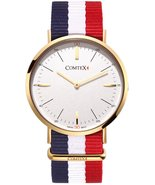 COMTEX Mens Nylon Watch Swiss Analog Quartz with Vibrant Multicolored Ny... - $244.99