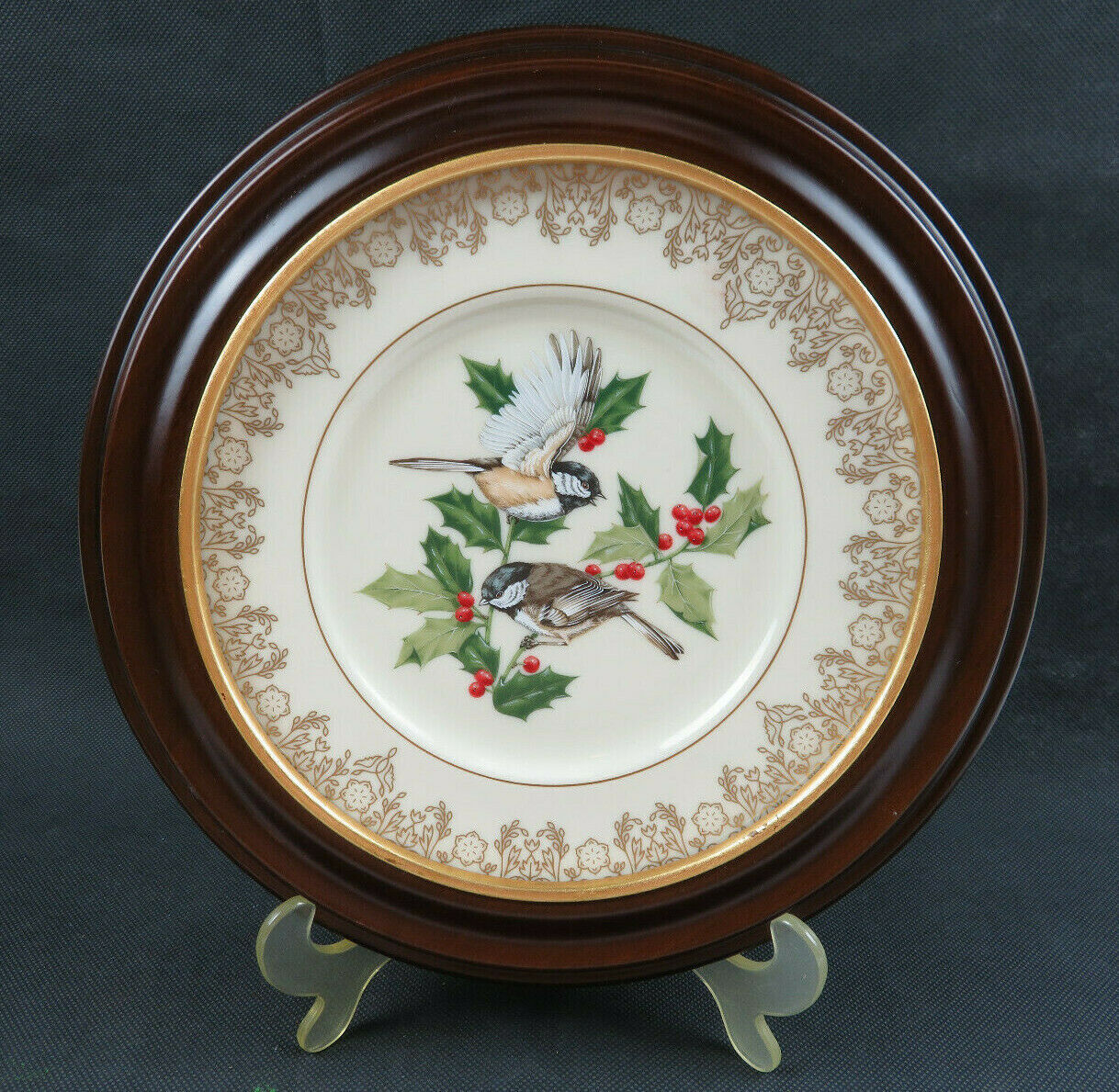 Vintage Fine Ivory China Chickadee Lenox Garden Bird plate Collection 1988