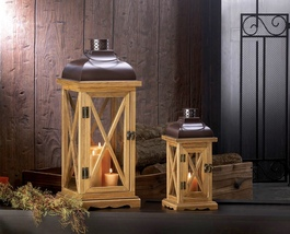 Hayloft Large Wooden Candle Lantern - $59.95