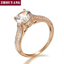 Top Classic Crystal Ring Rose Gold Color Wedding Austrian Crystals Full ... - $9.20