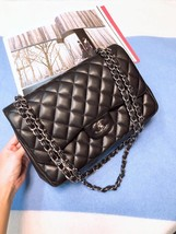 AUTHENTIC CHANEL BLACK LAMBSKIN QUILTED JUMBO DOUBLE FLAP BAG SILVER HARDWARE