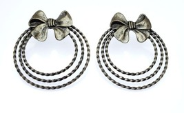 Lovely Vintage Silver Tone Costume Statement Braided Hoop in a Bow Post ... - $14.99