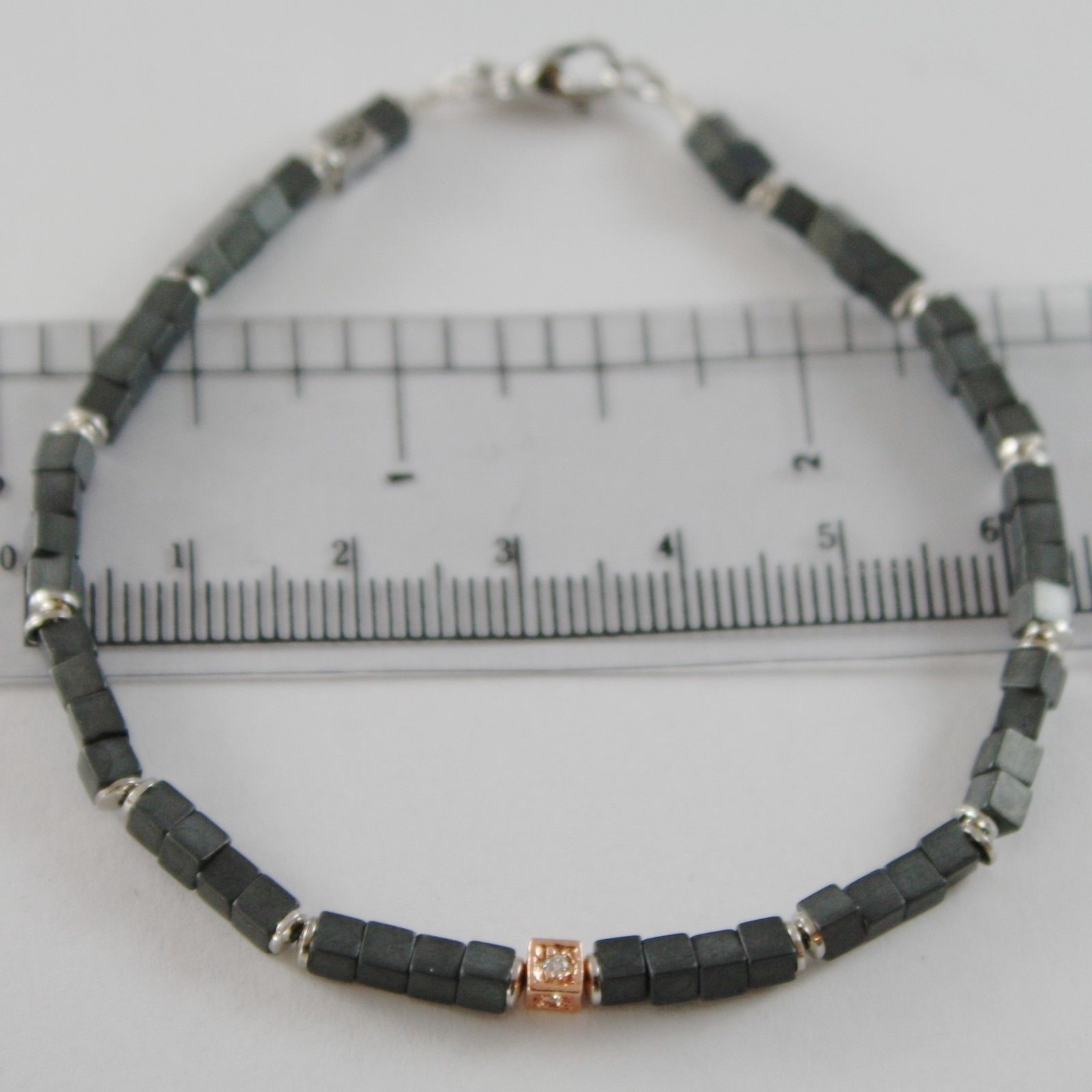BRACELET GIADAN 925 SILVER HEMATITE OPAQUE AND 4 DIAMONDS WHITE MADE IN ITALY