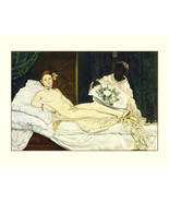 Edouard_Manet-female NUDE Olympia 1863, antique art prints, canvas art print, Nu - $20.99