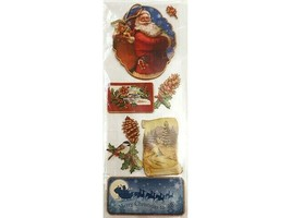 Elegant Large Dimensional Gold-Trimmed Christmas Chipboard Stickers, Set of 6