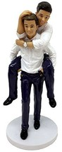 "December Diamonds Wedding Figurine - Grooms ""Piggyback"" Male Couple - $44.23"