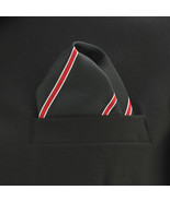 "Pocket Square Mens Hanky Black & Red Pintriped 10"" Dress Suit Handkerchi... - $12.82"