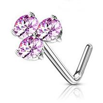 "Nose Bone Ring Pinwheel w/Pink Gems 4mm Head 20 Gauge 1/4"" Stee - $7.49"