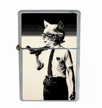 Cat Falling Down Rs1 Flip Top Oil Lighter Wind Resistant With Case - $12.82
