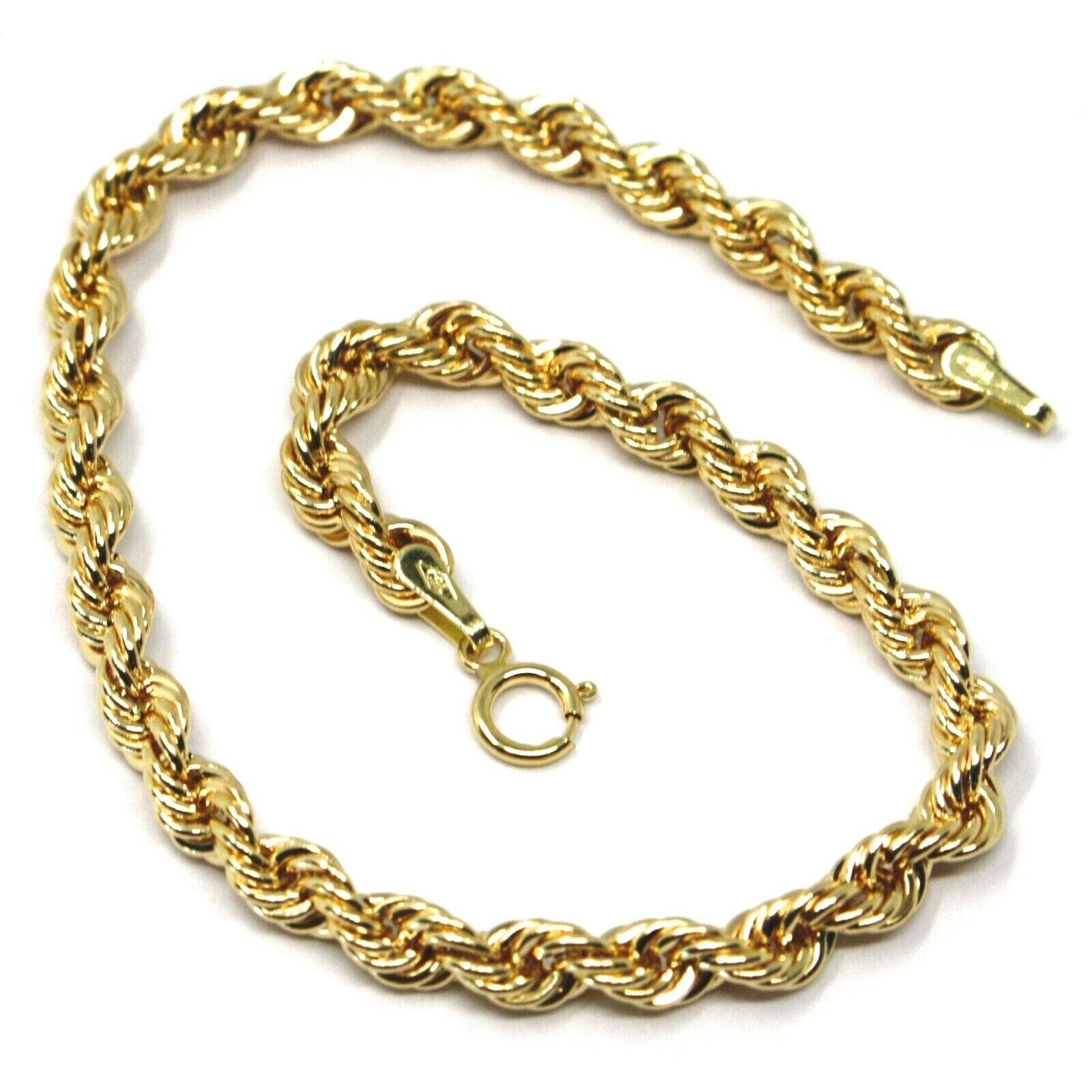 18K YELLOW GOLD BRACELET 4 MM BRAID ROPE LINK, 7.30 INCHES LONG, MADE IN ITALY