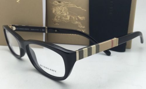 1d5a890ee8b6 New BURBERRY Eyeglasses B 2167 3001 52-16 Black Frames with Plaid Design  Temples