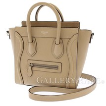 CELINE Nano Luggage Bag Calf Leather Beige 168243 2Way Italy Authentic 5... - $1,833.35