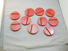 "10 HUGE 2 3/8 "" Round Red Bakelite Grooved Discs Holders Bases Chips - $395.00"