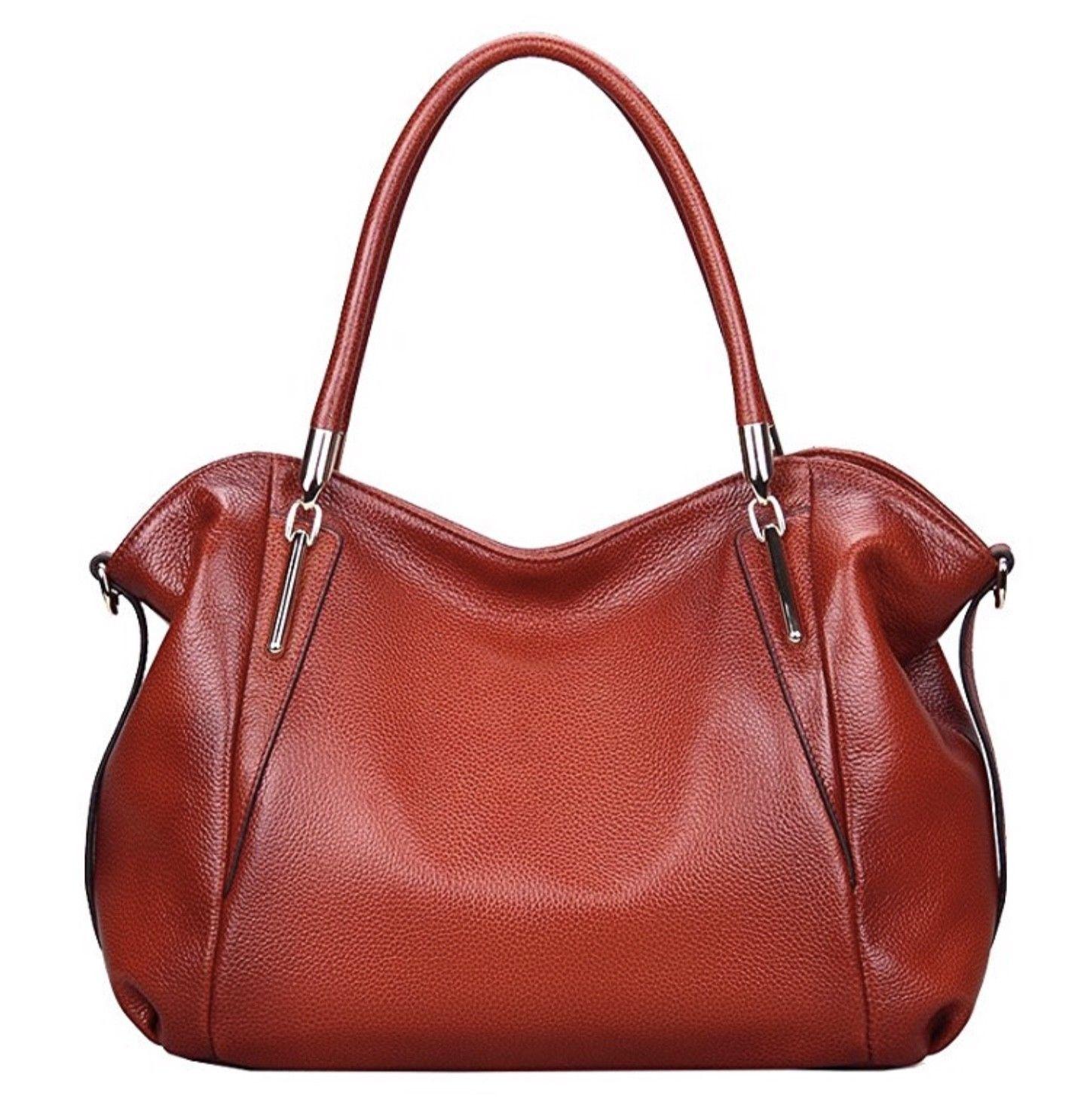 New Jair Pebbled Italian Leather Red Satchel Handbag Shoulder Bag