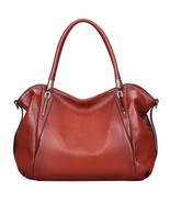 New Jair Pebbled Italian Leather Red Satchel Handbag Shoulder Bag - $118.79