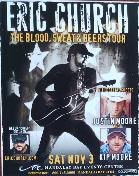 Primary image for Eric Church The Blood, Sweat & Beers Tour Mandalay Bay Las Vegas Promo card