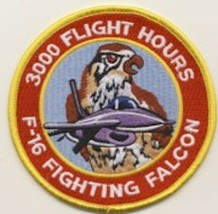 """4"""" Air Force F-16 3000 Flight Hours Fighting Falcon Red Yellow Embroidered Patch - $18.99"""