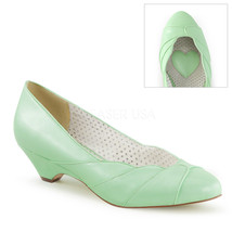 """PINUP COUTURE Lulu-05 Series 1 1/2"""" Kitten Wedge Pumps - Mint Faux Leather - $39.95"""