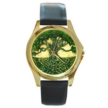 Mystic Celtic Tree Design GOLD-TONE Watch Leather Band - $25.99