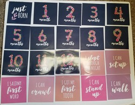Baby Monthly Milestone Stickers - Set of 20 Uniquely Designed Flower Bouquet image 2