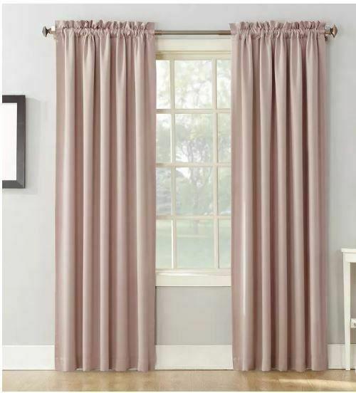 Seymour Energy Efficient Room Darkening Rod Pocket Curtain Panel BLUSH 54x84''