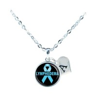 Custom Lymphedema Awareness Blue Ribbon Silver Necklace Jewelry Initial Family - $13.94