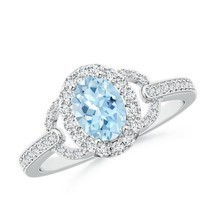 Vintage Style Oval Aquamarine Diamond Halo Engagement Ring 14k Gold/Plat... - $1,375.04+
