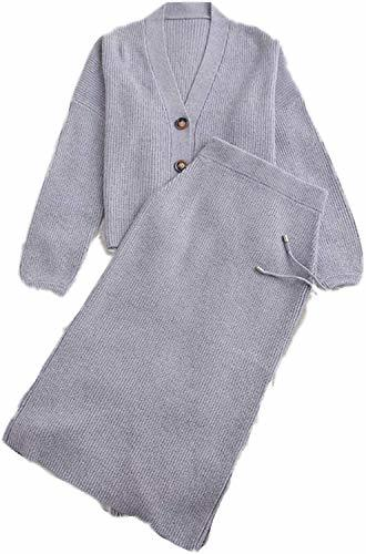 Primary image for Women's 2 Pieces Cardigan Sweater Dress Set Pure Cashmere Knit Dresses Button Do